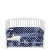 Baby Doll Lattice Minky Crib Bedding Set, Navy/White