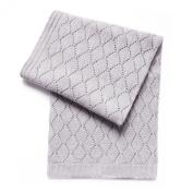 Esteffi Diamond Wool Blend Baby Blanket, Grey