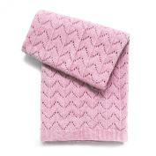 Esteffi Fan Stitch Wool Blend Baby Blanket, Pink