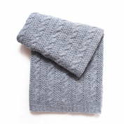 Esteffi Cable Knit Wool Blend Baby Blanket, Grey