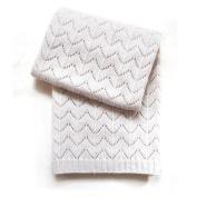 Esteffi Fan Stitch Wool Blend Baby Blanket, Ivory