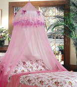 Triple Flower Elegant Lace Bed Mosquito Netting Ruffle Princess Pink Mesh Canopy Round Dome Bedding Net