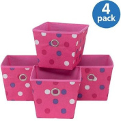 Set of 4, Polypropylene Resists Tears and Punctures Storage Bins, Pink