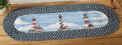 Nautical Coastal Lighthouse Braided Runner Rug