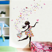 Hupplle® Removable DIY PVC Wall Sticker Decor Flower Fairy Princess Butterfly Dancing Girls, Sweet Romance Flower Fairy Princess Moon Girl Wall Stickers Sitting Bedroom