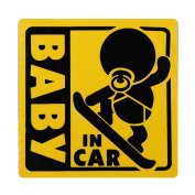 BABY IN CAR baby riding in the magnet outside the paste stickers 12cm yellow snowboarding