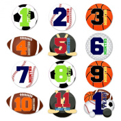 Set of 12 Monthly Baby Stickers for Photos and Bodysuits SPORTS Theme