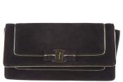 Salvatore Ferragamo women's suede clutch handbag bag purse camy black