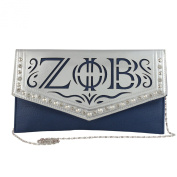 Zeta Phi Beta Faux Leather Envelope Clutch with Detachable Chain Shoulder Strap