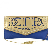 Sigma Gamma Rho Faux Leather Envelope Clutch with Detachable Chain Shoulder Strap