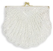 La Regale Shell Beaded Evening Clutch, White
