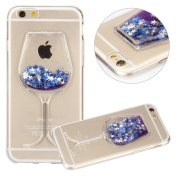 iPhone 6S Plus Case, UZZO [Liquid Glitter] [Crystal Clear] Flexible Soft TPU Case for iPhone 6S Plus / iPhne 6 Plus Bling Glitter Sparkle Love Heart Liquid Flowing Silicone Gel Back Case