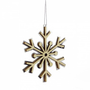 10cm Winter Light Rustic Wooden Mirrored Snowflake Christmas Ornament