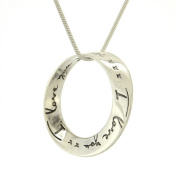 Circle of Love 925 Sterling Silver Love Message Inscription Pendant Necklace Chain
