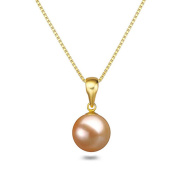"""Pink Pearl Pendant 16"""" or 18"""" 7-9mm Freshwater Pearl Pendant Necklace Sterling Silver Necklace Chain"""