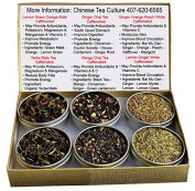Tea Sampler - Mate Tea - Yerba Mate - Chai Tea - Ginger Chai - Mango Chai - White Tea - Caffeinated Tea - 6Teas