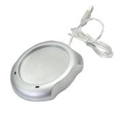 USB Power Suply Coffee Tea Mug Warmer Heating Cup Mat Pad Coasters Home Office Use Silver