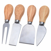 Cosmos ® Set of 4 Cheese Knives with Wood Handle Steel Stainless Cheese Slicer Cheese Cutter