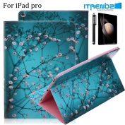 iPad Pro Case, iTrendz [Cute Smart Case] Cherry Blossom PU Leather Flip Case [Card Slot Case] [Magnetic Closure] Stand Smart Cover [Auto Sleep Wake] For iPad Air Pro
