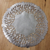 PEPPERLONELY 25cm Silver Round Lancaster Paper Doilies 50 Count