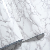 Grey Granite Look Marble Gloss Film Vinyl Self Adhesive Counter Top Peel and Stick Wall Decal 30cm x 150cm