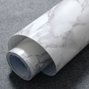 Grey Granite Look Marble Gloss Film Vinyl Self Adhesive Counter Top Peel and Stick Wall Decal 60cm x 150cm
