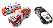 3-in-1 Emergency Vehicle Toy PlaySet for Kids