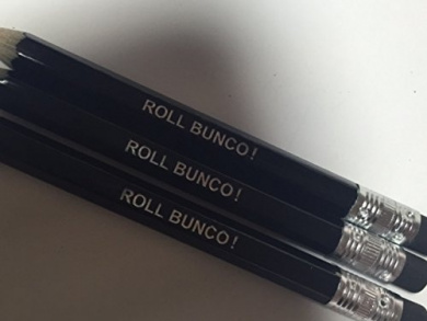 ROLL BUNCO! Black Pencils with Eracers - Set of 12 Pencils for Bunco Parties