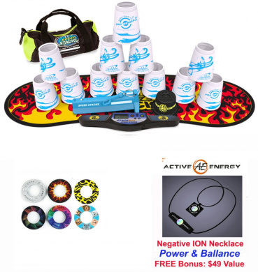 Speed Stacks Custom Combo Set - The Works: 12 WHITE PRO SERIES 10cm Cups, Cup Keeper, Quick Release Stem, Pro Timer, Gen 3 Premium Black Flame Mat, 6 Snap Tops, Gear Bag. Active Energy Power Balance Necklace $49 Free