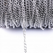 10m 33FT Stainless Steel Cable Chain Link in Bulk for Necklace Jewellery Accessories DIY Making 3.5x5mm