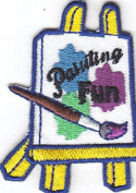"""PAINTING FUN"" PATCH-Iron On Embroidered Applique/Easel, Paint Brush, Craft, Art"