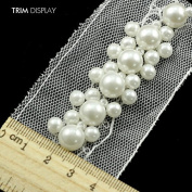 2yards Ivory Pearls Beaded Braided Lace Ribbon Trim Embellishment Sew on Applique Fabric Trimming Sewing Supplies Craft