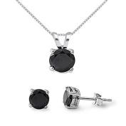 Sterling Silver Black CZ Necklace & Earrings Set