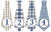 Monthly Baby Ties, Plaid, Blue Brown, Baby Necktie, Baby Gift