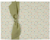 Tessera Baby Books Memory Book Small Dots with Green Grosgrain Ribbon, Cream