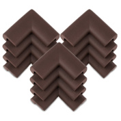 KINGLAKE®12 Pcs Brown Thick Baby Safety Soft Corner Guards Baby Safety Protectors Furniture Corner Bumpers