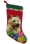 Cairn Terrier Christmas Stocking 100% Wool Hand-Stiched Needlpoint