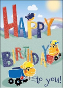 Truck and Diggers - Happy Birthday Card-Book