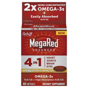 Megared Advanced 4in1 900mg Fish Oil+High Absorption Krill Oil with 700 mg Omega-3 Fatty Acids (600 mg of DHA & EPA), 40 Softgels- Supports Heart, Brain, Joint & Eye Health