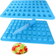 2 Pack 50 Cavity Silicone Gummy Bear Candy Chocolate Mould With a Bonus Dropper Making Cute Gift For Your Kids
