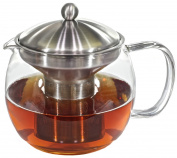 Glass Teapot Tea Infuser with Warmer - Tea Kettle and Warmer Set with Built-in Strainer - Teapot holds 5 Cups