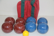 Premium Quality and American Made, 110mm EPCO Bocce Set - dark red and blue balls and maroon/green bag