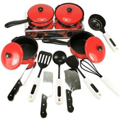 Icollect® 13pcs/set Kitchen Food Cooking Role Play Pretend Toy- red