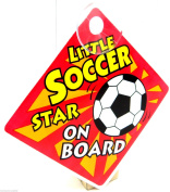 Little Soccer Star On Board Sign Suction Cup Vehicle Safety Car Sign Football