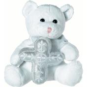 Plush Tender Love Religious Bear Holding Silver Stuffed Cross