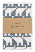 Milkbarn Organic Cotton Hooded Towel, Blue Elephant