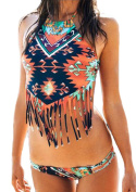 CNYY Women's High Neck Tassel Printing Low Waist Bikini