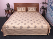 100 % cotton 3 Pcs Ethnic Indian Printed Bed Cover With Pillow Case Bedding Set1