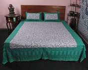 Amazing Indian Ethnic Printed 100 % Cotton 3 Pcs Bed Cover With Pillow Case
