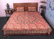 Floral 3 Pc Bed Cover Cum Bedding Set King Size 100 % Cotton With Pillow cover